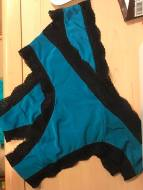Blue ITY Knit Thongs W/ Black Stretch Lace